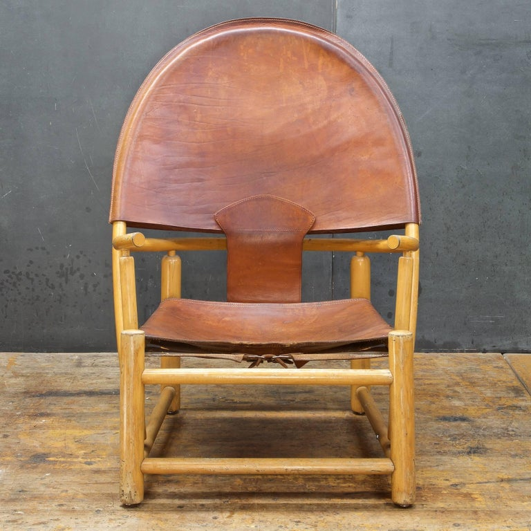 Designer Sling Chairs: Italian Leather Sling Chair Rustic Mid-Century Alps Cabin
