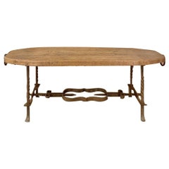 Rustic Midcentury Oak and Wrought Iron Coffee Table