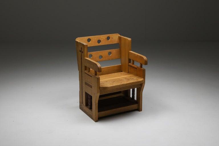 Dutch Rustic Modern Armchair in Oak