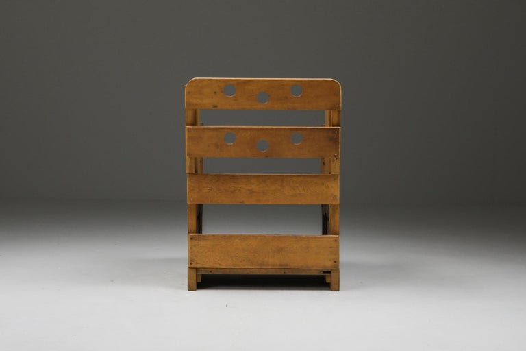Mid-20th Century Rustic Modern Armchair in Oak