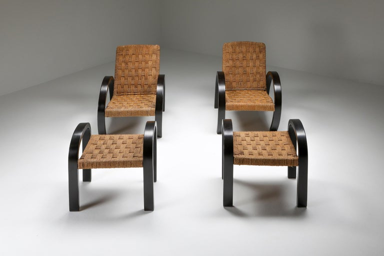 Italian Rustic Modern Armchairs with Ottoman For Sale