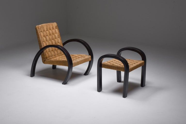 Mid-20th Century Rustic Modern Armchairs with Ottoman For Sale