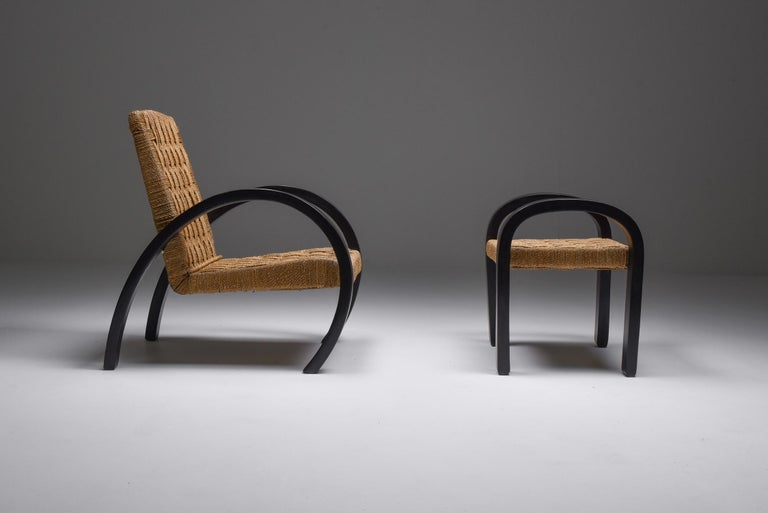 Cord Rustic Modern Armchairs with Ottoman For Sale