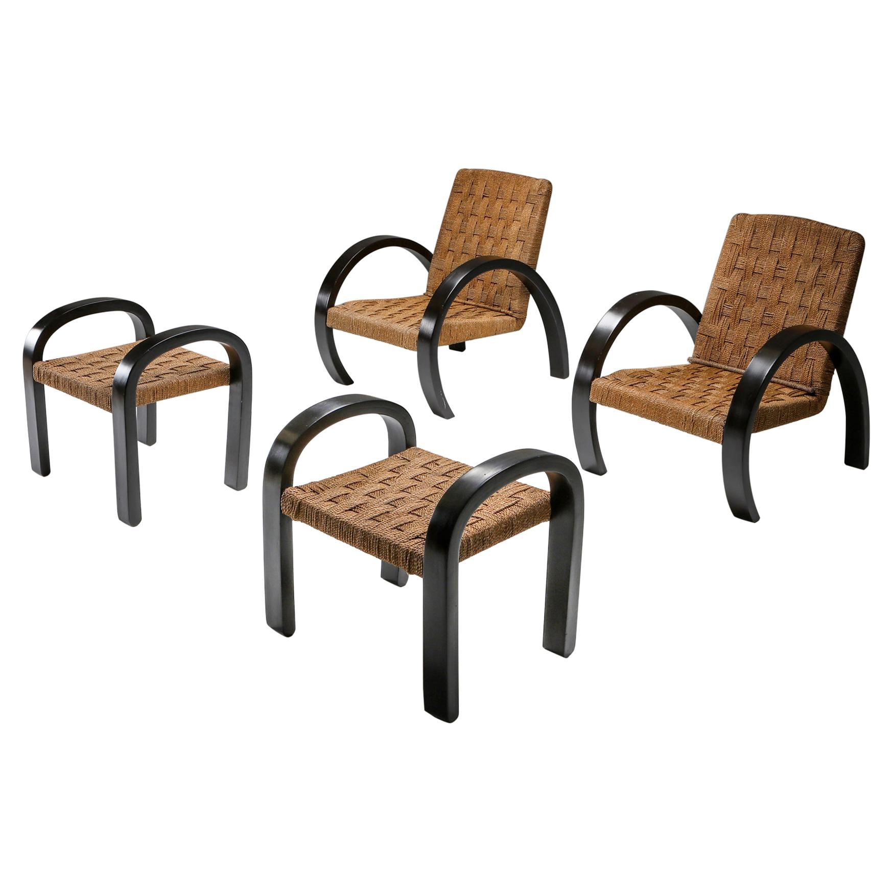 Rustic Modern Armchairs with Ottoman