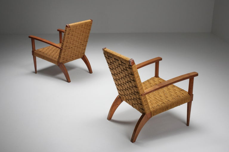 Mid-Century Modern Rustic Modern Audoux Minet Armchairs For Sale