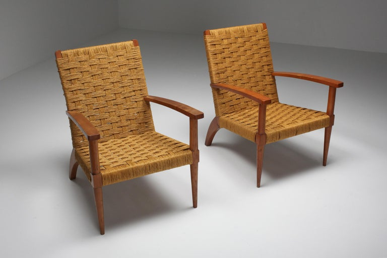 French Rustic Modern Audoux Minet Armchairs For Sale