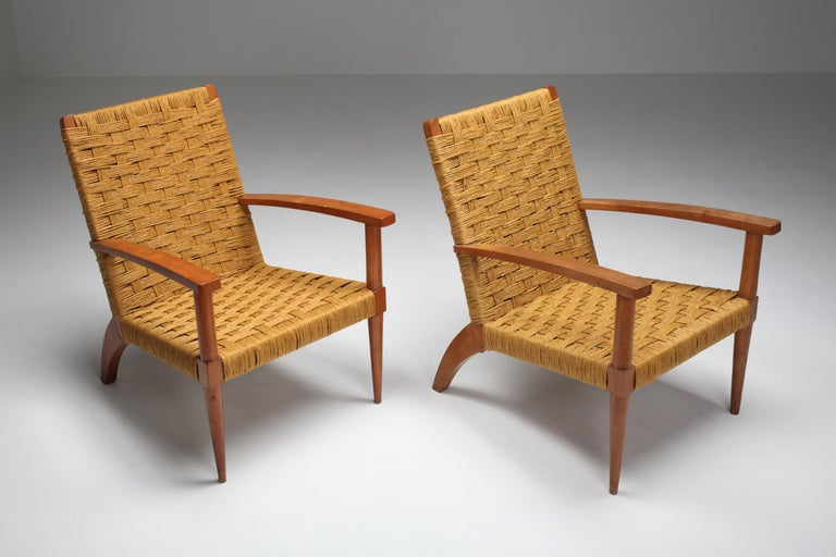 Rustic Modern Audoux Minet Armchairs In Good Condition For Sale In Antwerp, BE