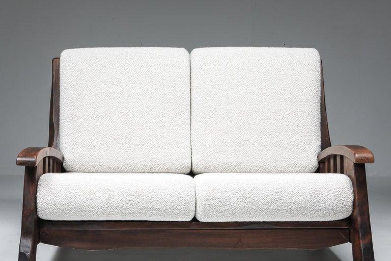Rustic Modern 'Chalet' Sofa with Pierre Frey Bouclé For Sale 5