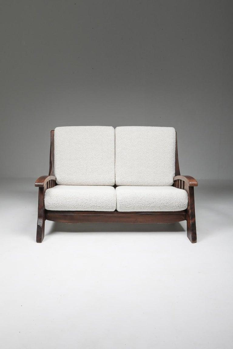 Rustic Modern 'Chalet' Sofa with Pierre Frey Bouclé For Sale 6