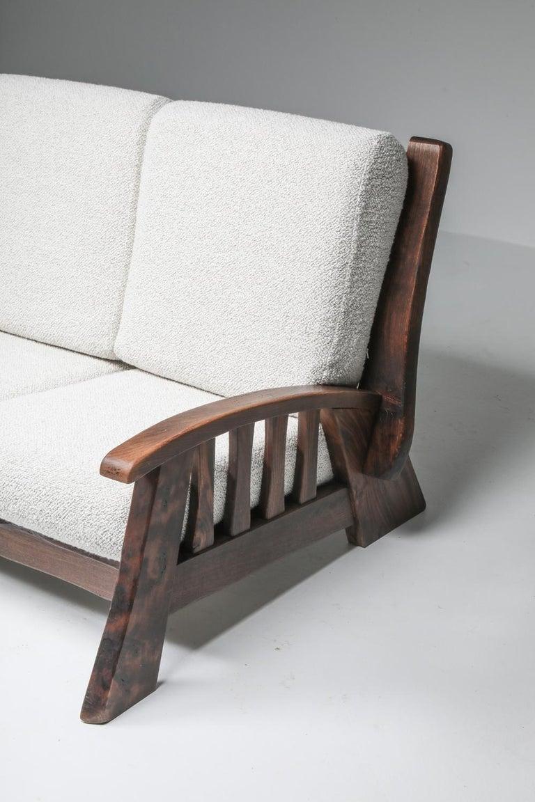 Rustic Modern 'Chalet' Sofa with Pierre Frey Bouclé For Sale 9