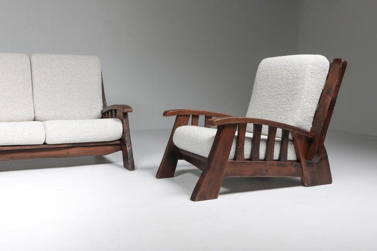 Rustic Modern 'Chalet' Sofa with Pierre Frey Bouclé For Sale 11