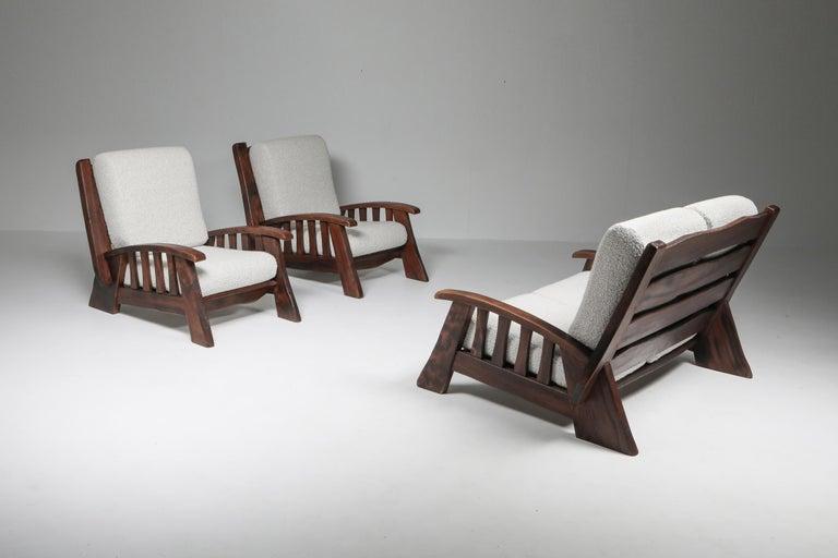 Rustic Modern 'Chalet' Sofa with Pierre Frey Bouclé For Sale 12