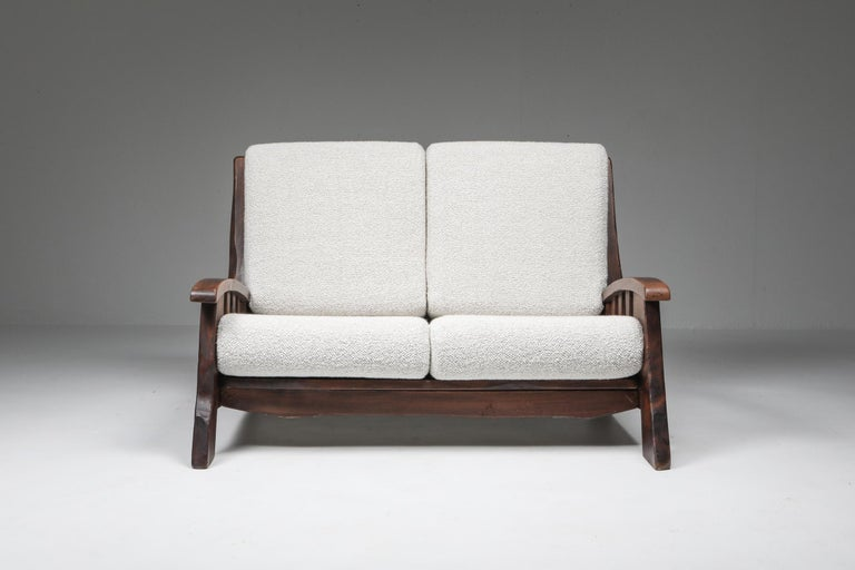 Swiss Rustic Modern 'Chalet' Sofa with Pierre Frey Bouclé For Sale