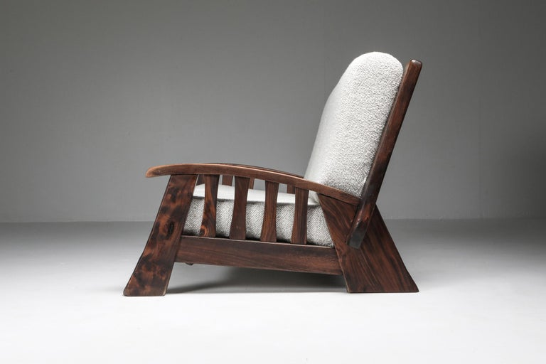 Rustic Modern 'Chalet' Sofa with Pierre Frey Bouclé In Good Condition For Sale In Antwerp, BE