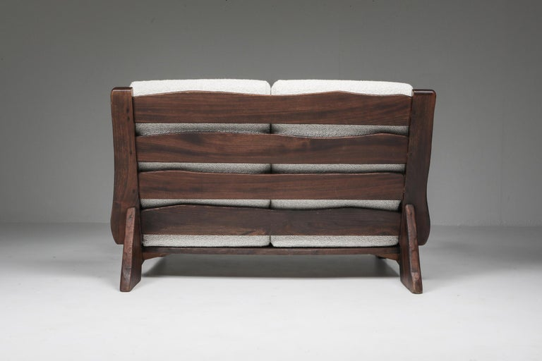 Mid-20th Century Rustic Modern 'Chalet' Sofa with Pierre Frey Bouclé For Sale