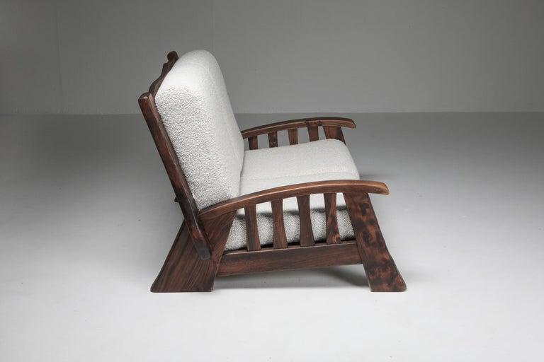 Rustic Modern 'Chalet' Sofa with Pierre Frey Bouclé For Sale 1