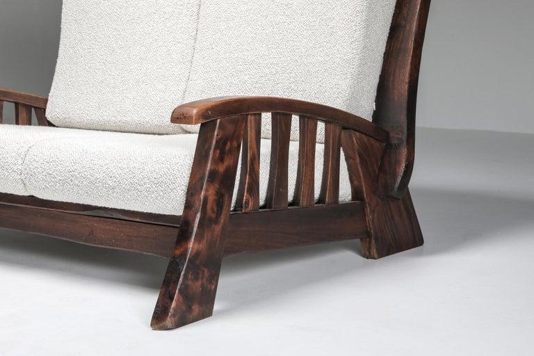 Rustic Modern 'Chalet' Sofa with Pierre Frey Bouclé For Sale 2