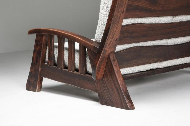 Rustic Modern 'Chalet' Sofa with Pierre Frey Bouclé For Sale 4