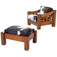 Rustic Modern Cowhide Leather Solid Pine Lounge Chair & Ottoman by Null