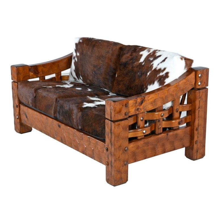 Rustic Modern Cowhide Leather Solid Pine Loveseat Sofa