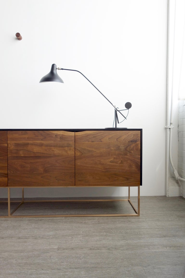 Rustic Modern Credenza, Handcrafted of American Hardwoods with a Bronze Base In New Condition For Sale In St. Paul, MN