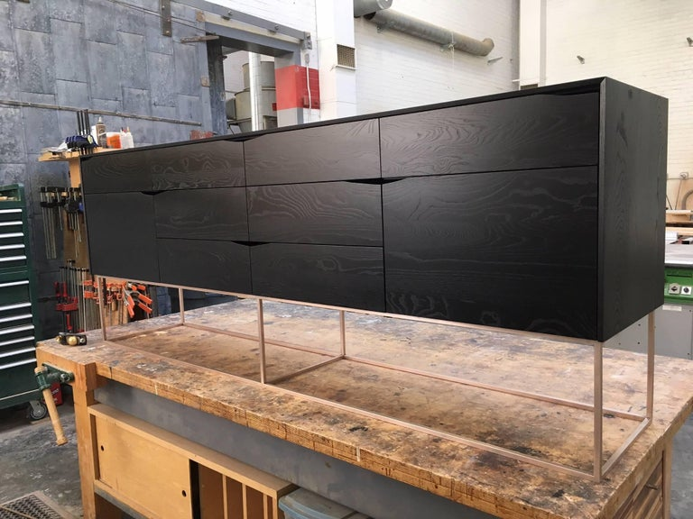 Contemporary Rustic Modern Credenza, Handcrafted of American Hardwoods with a Bronze Base For Sale
