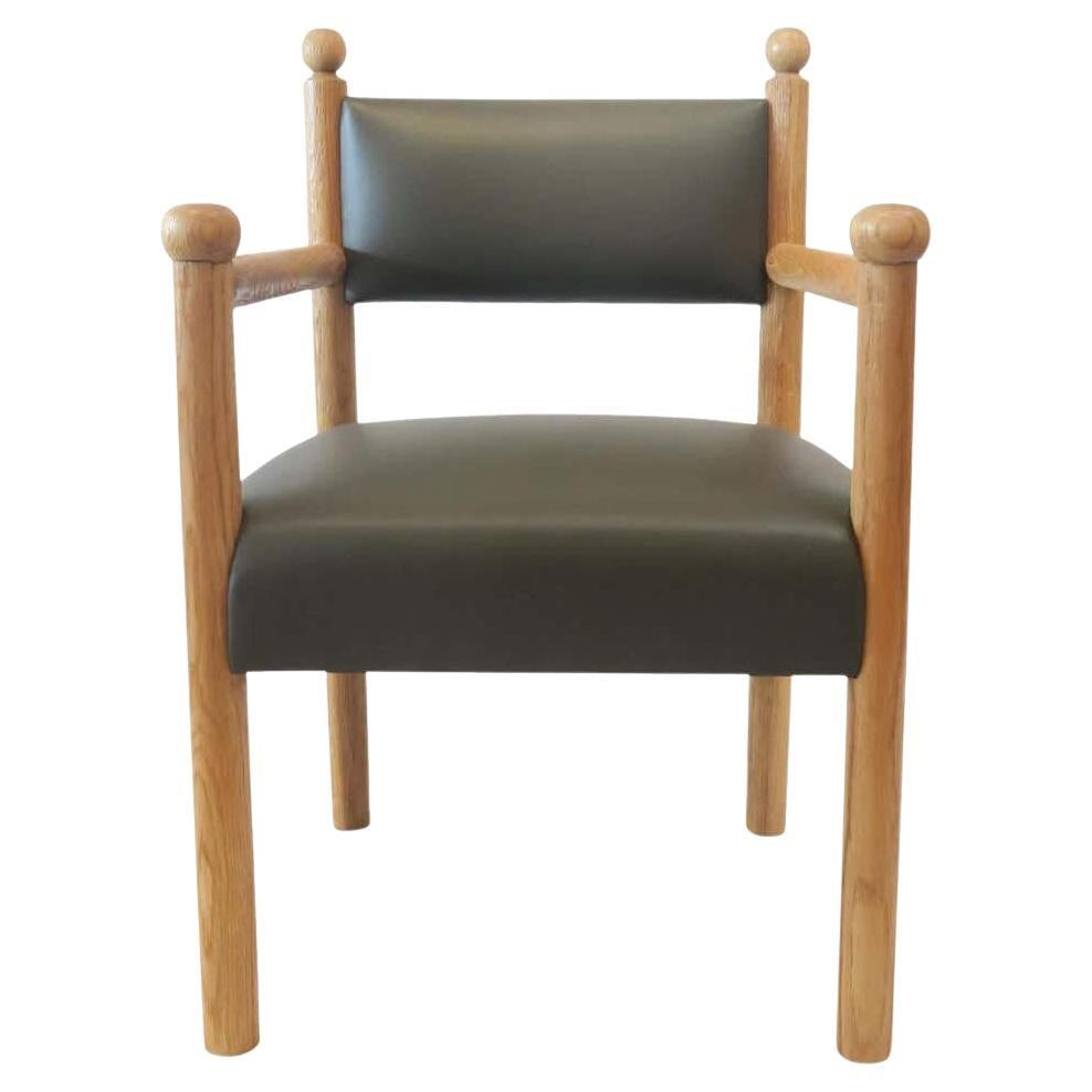 Rustic Modern Dining Chair with Turned Finals by Martin and Brockett, Dark Green