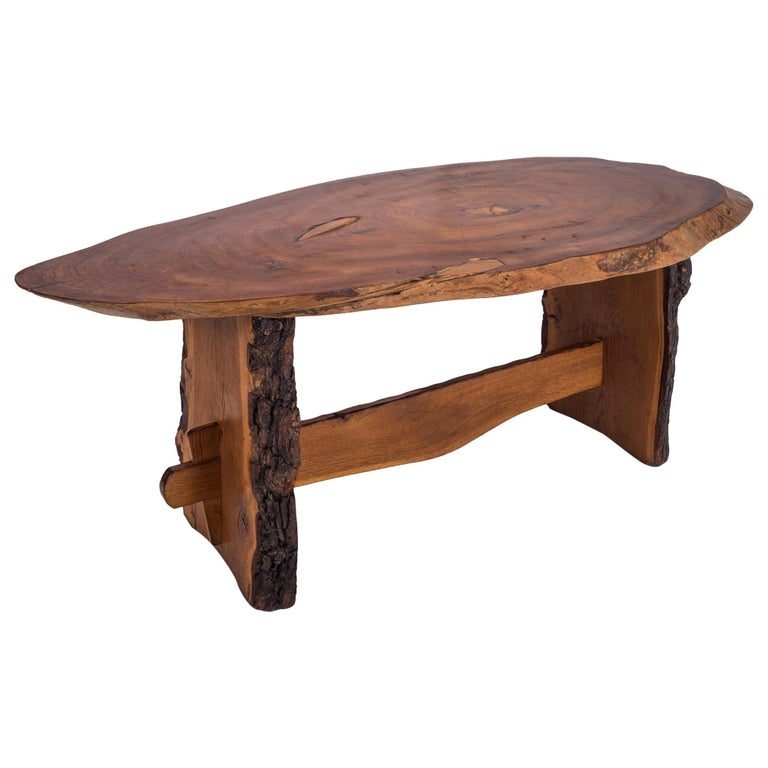 "Rustic dining table in ""wabi wabi"" style with beautifully shaped tabletop. 
