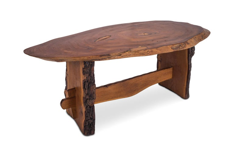 Mid-Century Modern Rustic Modern Dining Table in Solid Wood For Sale