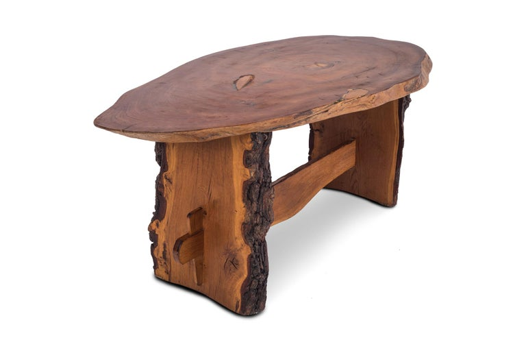 Rustic Modern Dining Table in Solid Wood In Good Condition For Sale In Antwerp, BE