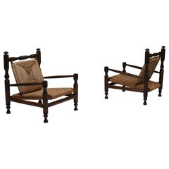 Rustic Modern French Rush Armchairs in Stained Wood