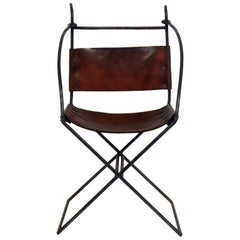 Rustic Modern Iron and Leather Chair