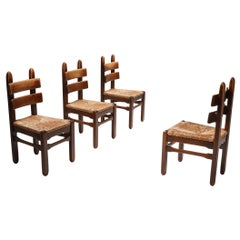 Rustic Modern Oak and Cord Chairs