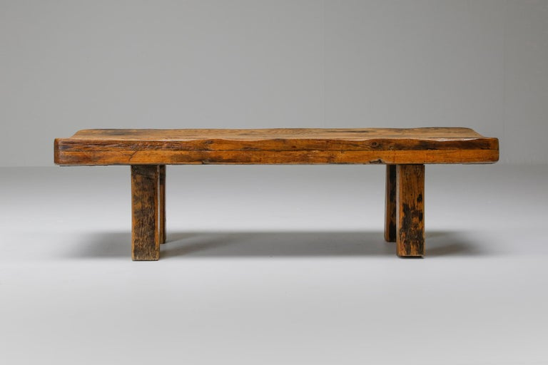 Zen, wabi sabi, coffee table, bench, solid oak, France, Haut-Savoie, 1960  Rustic modern piece that would fit well in a Axel Vervoordt inspired decor. Shot in profile it's reminiscing of a Japanese shrine, being a perfect example for a wabi sabi