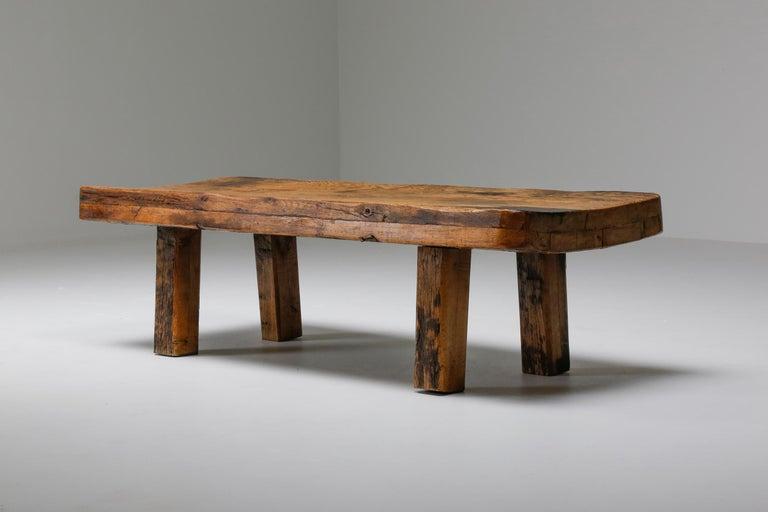 French Rustic Modern Oak Bench Coffee Table Wabi Sabi Zen For Sale