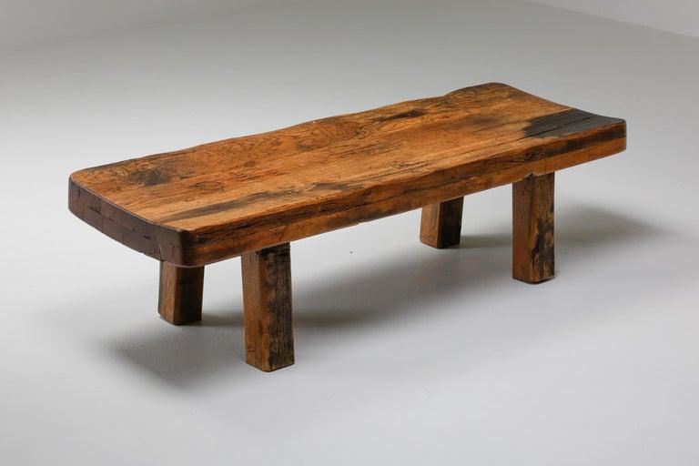 Rustic Modern Oak Bench Coffee Table Wabi Sabi Zen In Good Condition For Sale In Antwerp, BE