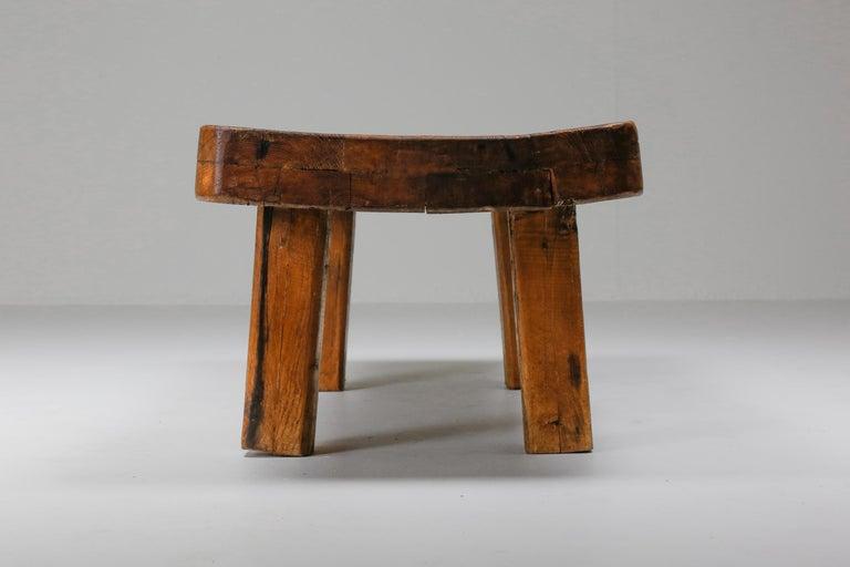 Mid-20th Century Rustic Modern Oak Bench Coffee Table Wabi Sabi Zen For Sale