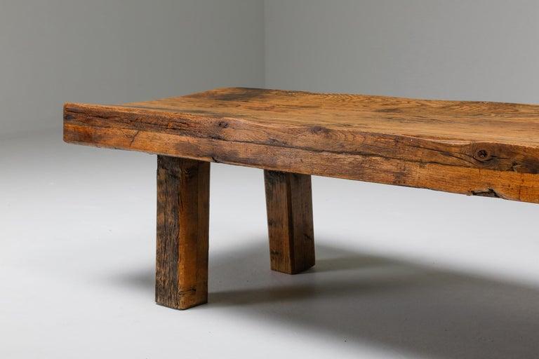 Rustic Modern Oak Bench Coffee Table Wabi Sabi Zen For Sale 1