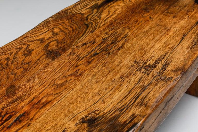 Rustic Modern Oak Bench Coffee Table Wabi Sabi Zen For Sale 2