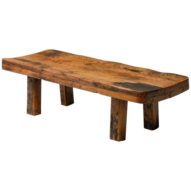 Rustic Modern Oak Bench Coffee Table Wabi Sabi Zen For Sale