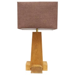 Rustic Modern Pine Cross Base Table Lamp by Martin and Brockett, Brown and Mauve