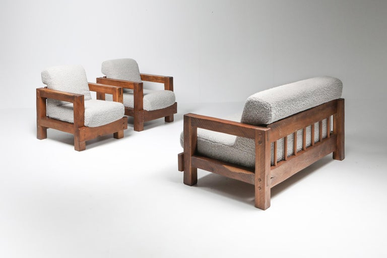 Rustic Modern Primitive Lounge Chairs in Bouclé For Sale 5