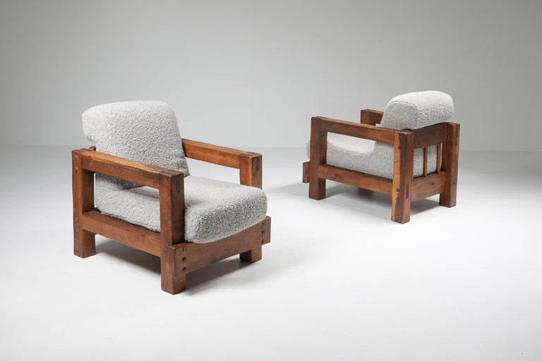 Rustic modern armchairs, bouclé wool, Pierre Frey  Chalet style wabi sabi lounge chairs in solid oak Would fit well in an Axel Vervoordt inspired decor.