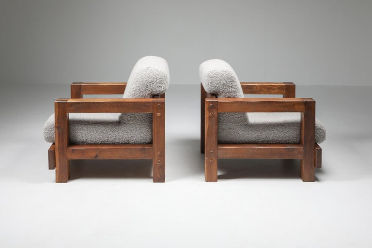 Mid-Century Modern Rustic Modern Primitive Lounge Chairs in Bouclé For Sale