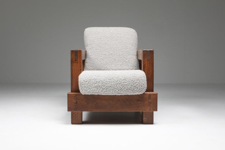 European Rustic Modern Primitive Lounge Chairs in Bouclé For Sale