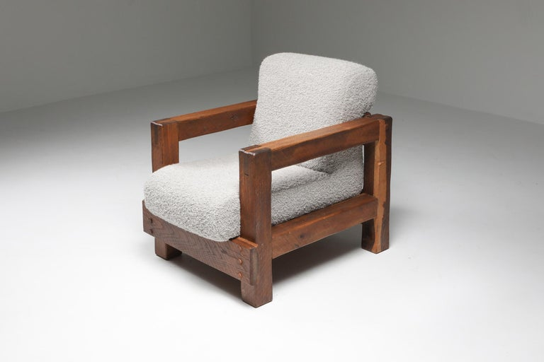 Mid-20th Century Rustic Modern Primitive Lounge Chairs in Bouclé For Sale