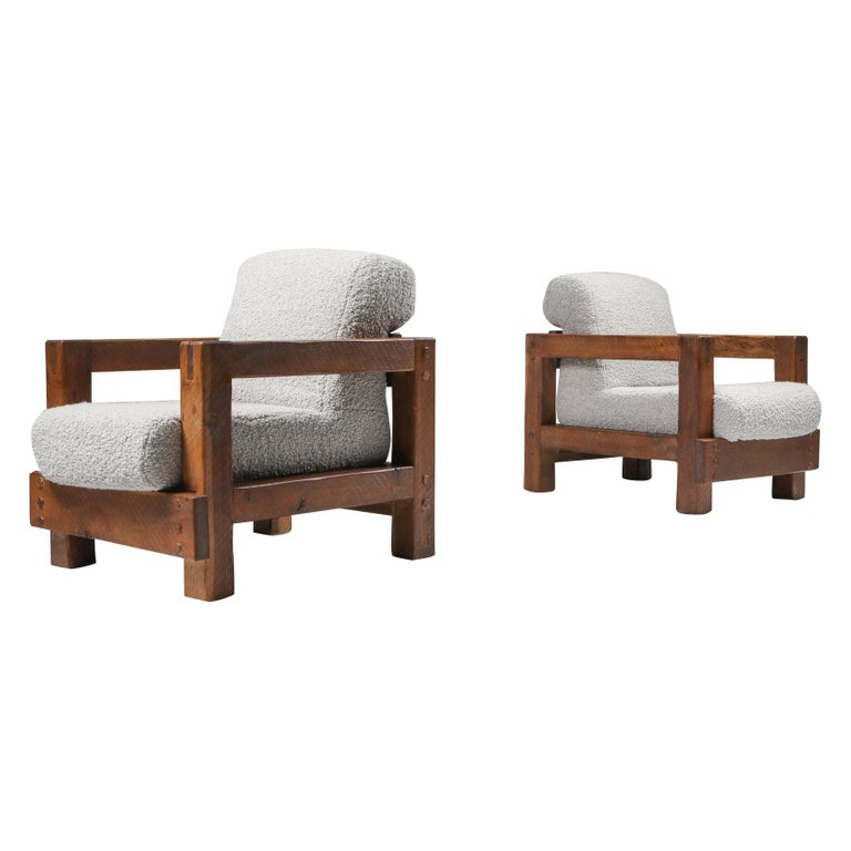 Rustic Modern Primitive Lounge Chairs in Bouclé For Sale