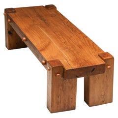 Rustic Modern Rectangular Coffee Table in Solid Oak