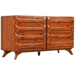 Rustic Modern Sculptured Pine Double Dresser by Franklin Shockey