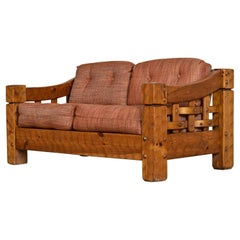 Rustic Modern Solid Knotty Pine Lodge Style Loveseat Sofa by Null